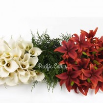 White Callas,  Red Asiatic Lilies, Pine Greenery
